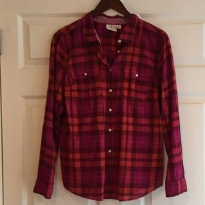 ST JOHN'S BAY Plaid Button Down Top L